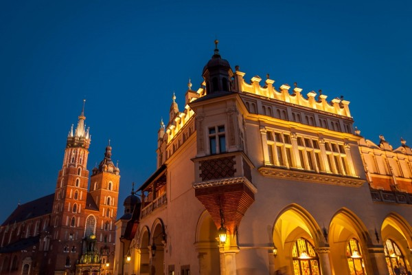 Krakow's Main Market Square and the Cloth Market at night.