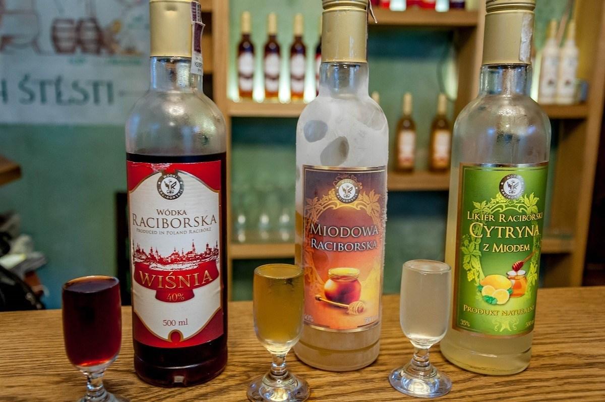 Bottles and glasses at a vodka bar, called Trojkat Bar