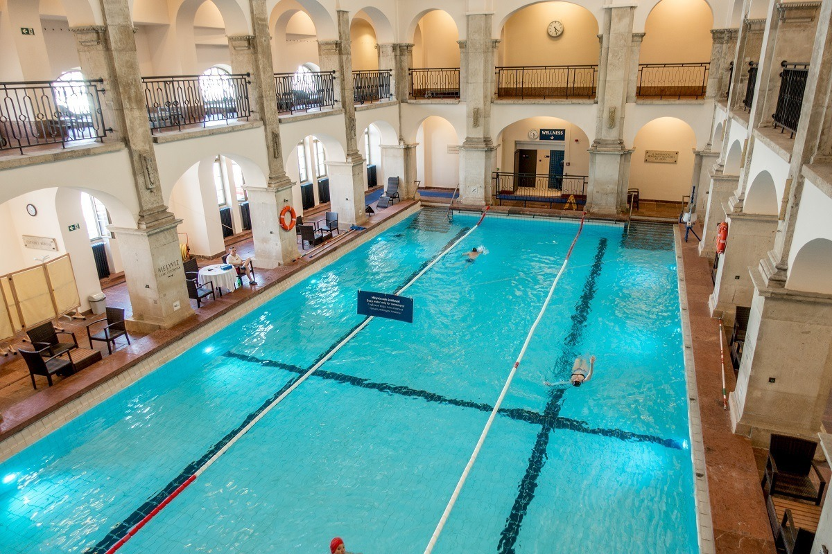 Overhead view of an indoor swimming pool