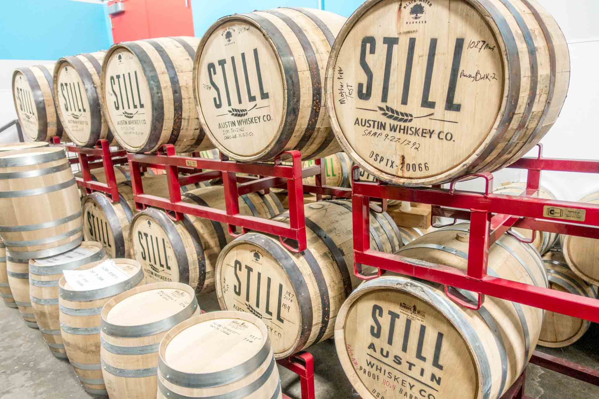 Whiskey barrels at Still Austin