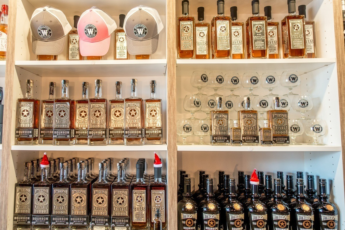 Texas bourbon and other products on shelves