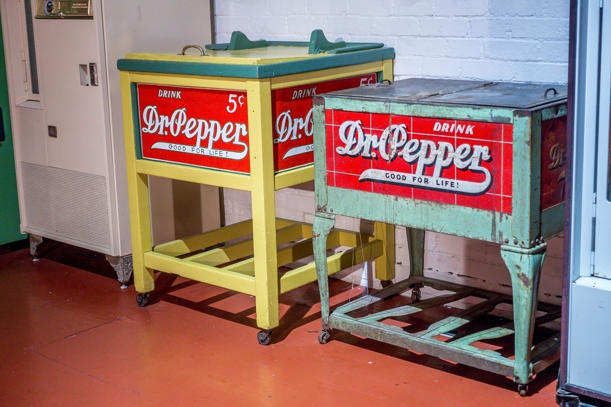 Vintage Dr. Pepper coolers in the museum in Waco