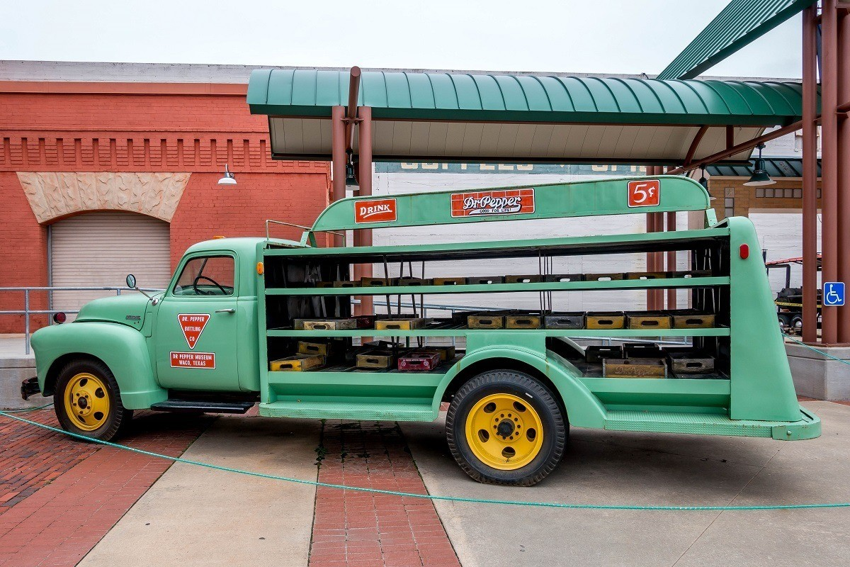 Vintage green delivery truck