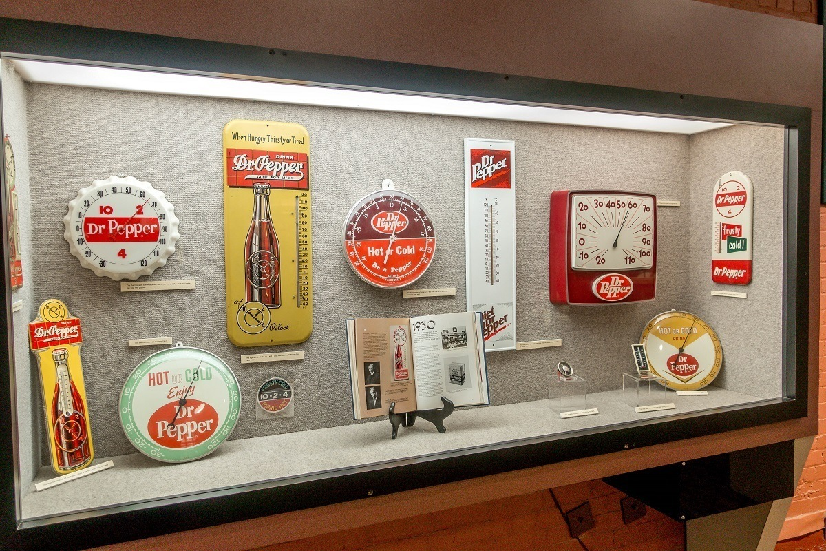 Dr Pepper clocks and thermometers on display