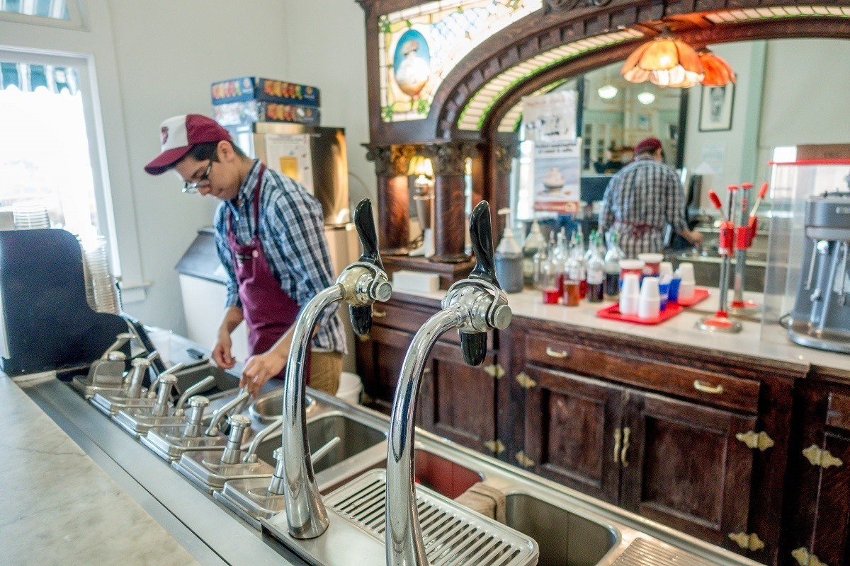 Vintage soda fountain at the Dr Pepper Museum Waco, Texas