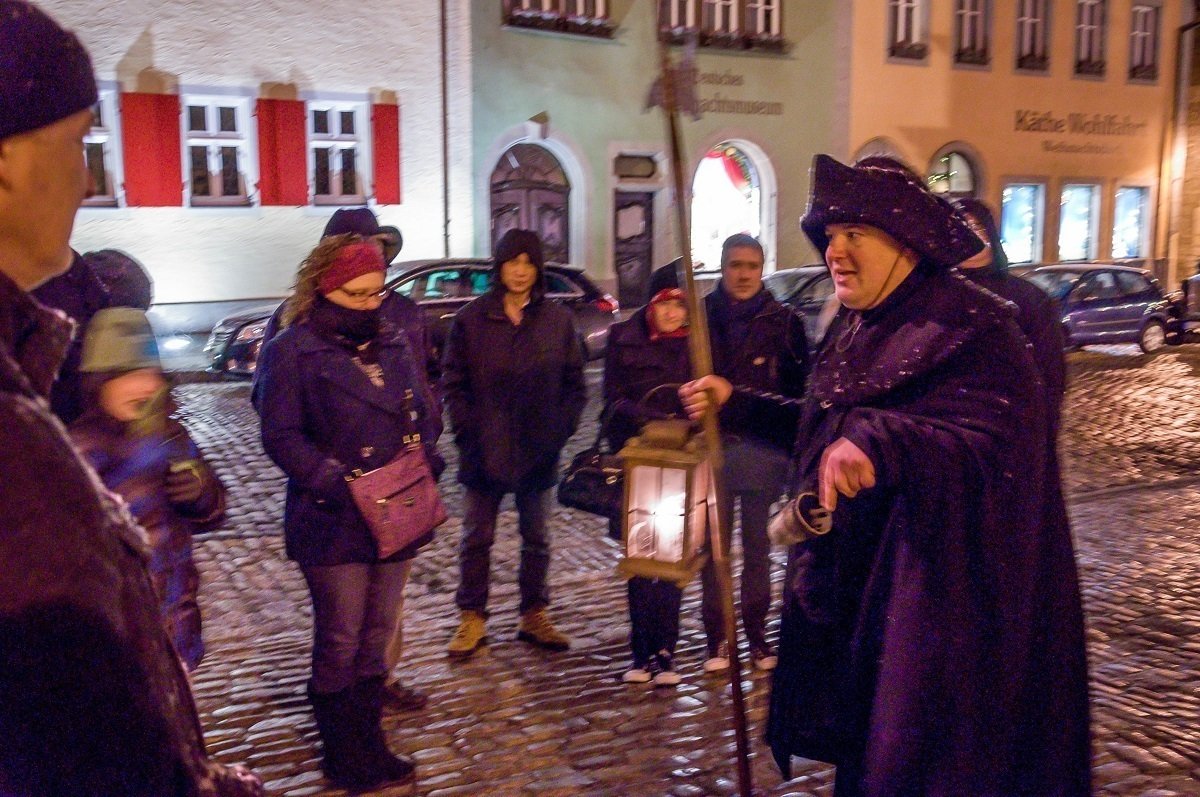 People on the Rothenburg Nightwatchman Tour