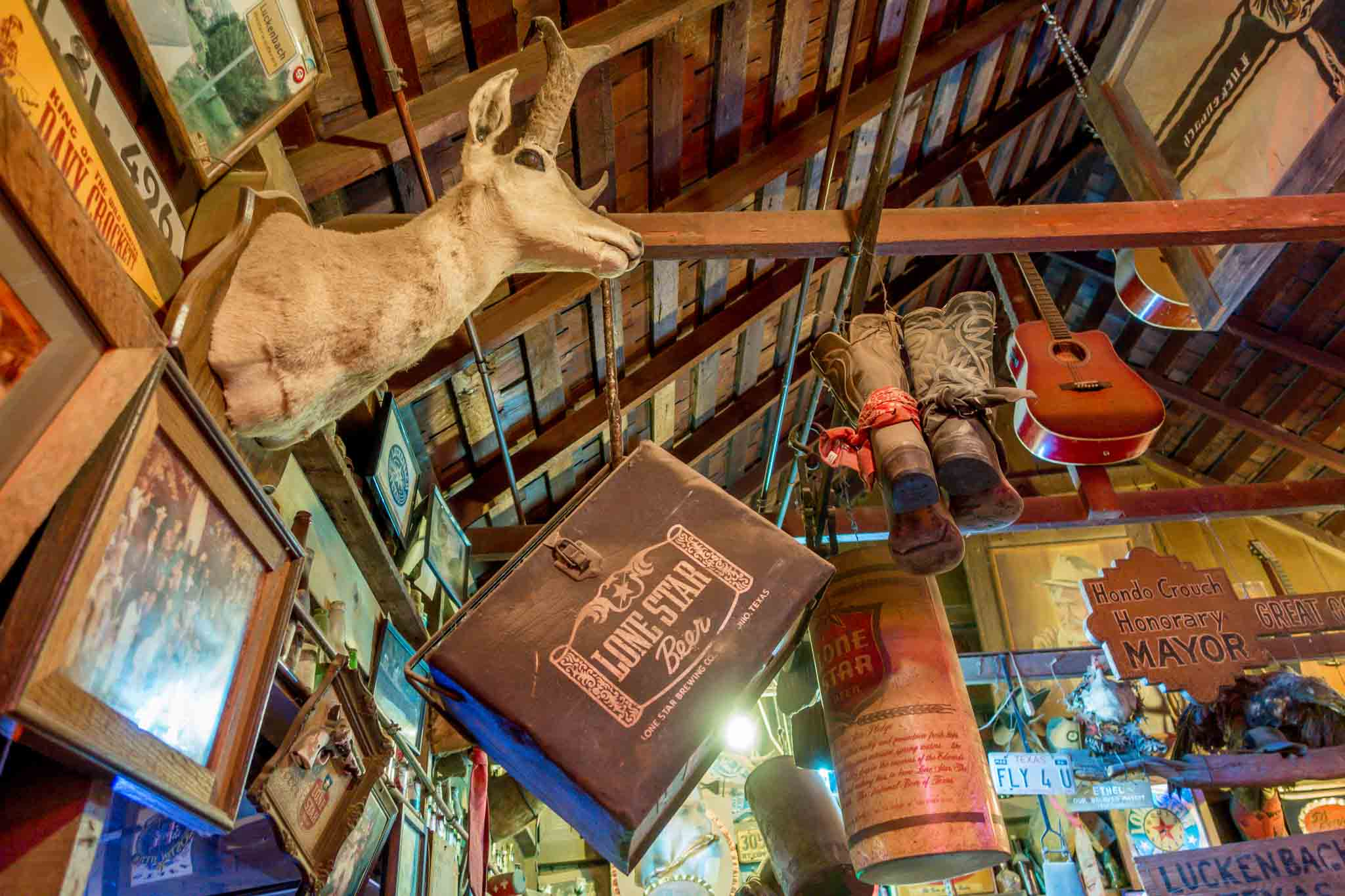 Music memorabilia hanging from the ceiling