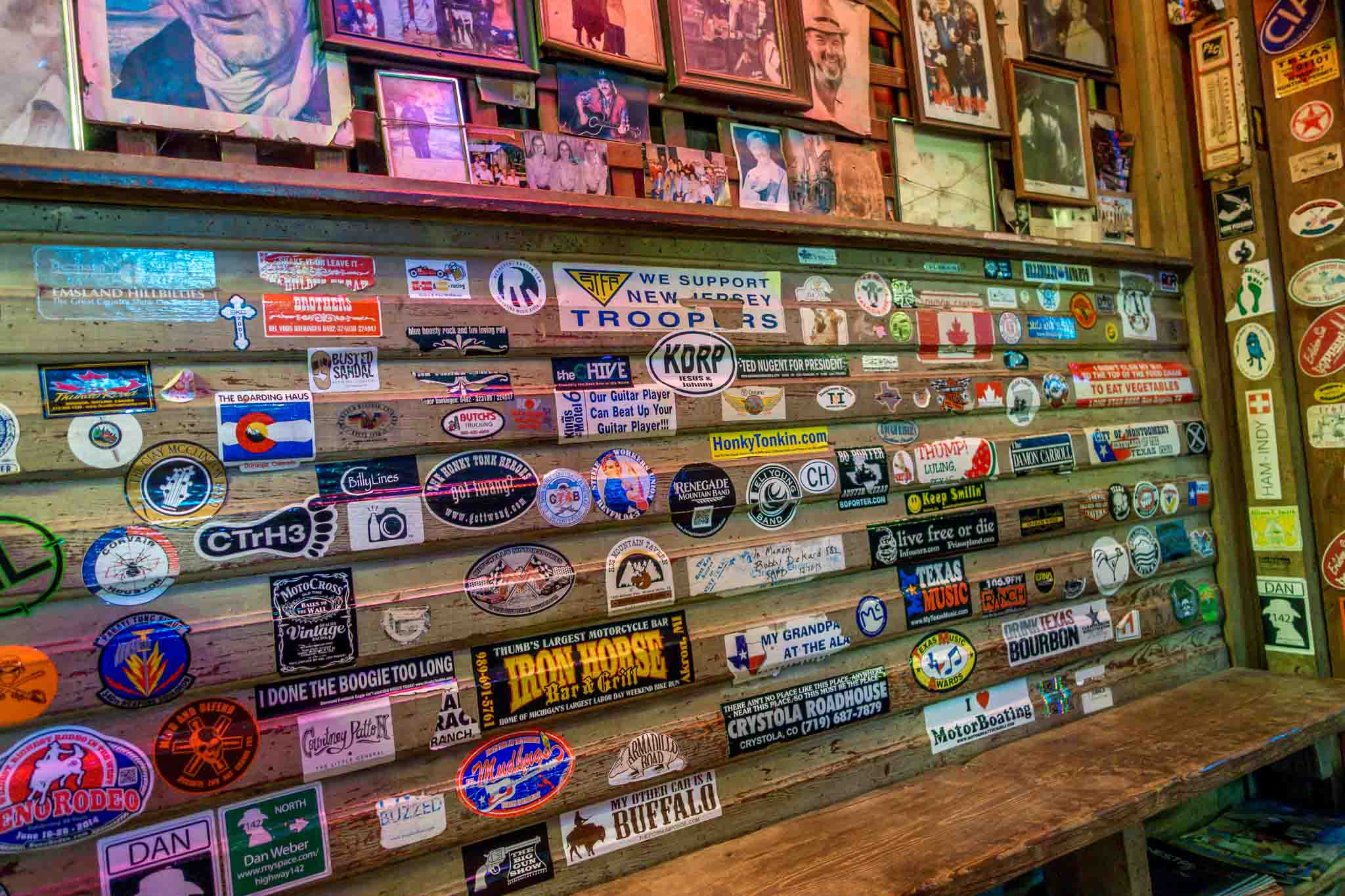 Bumper stickers on the wall