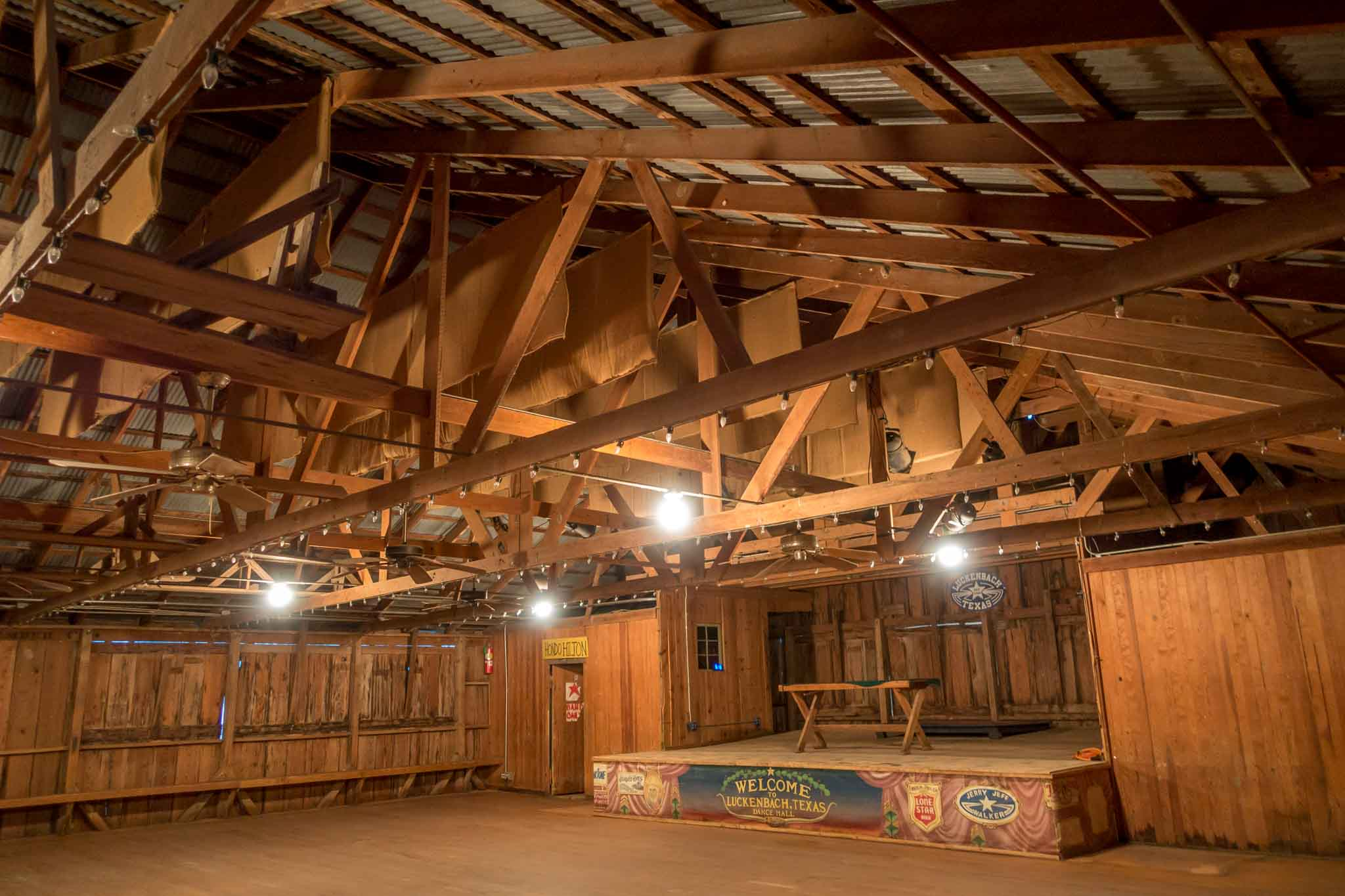 Empty dance hall with stage