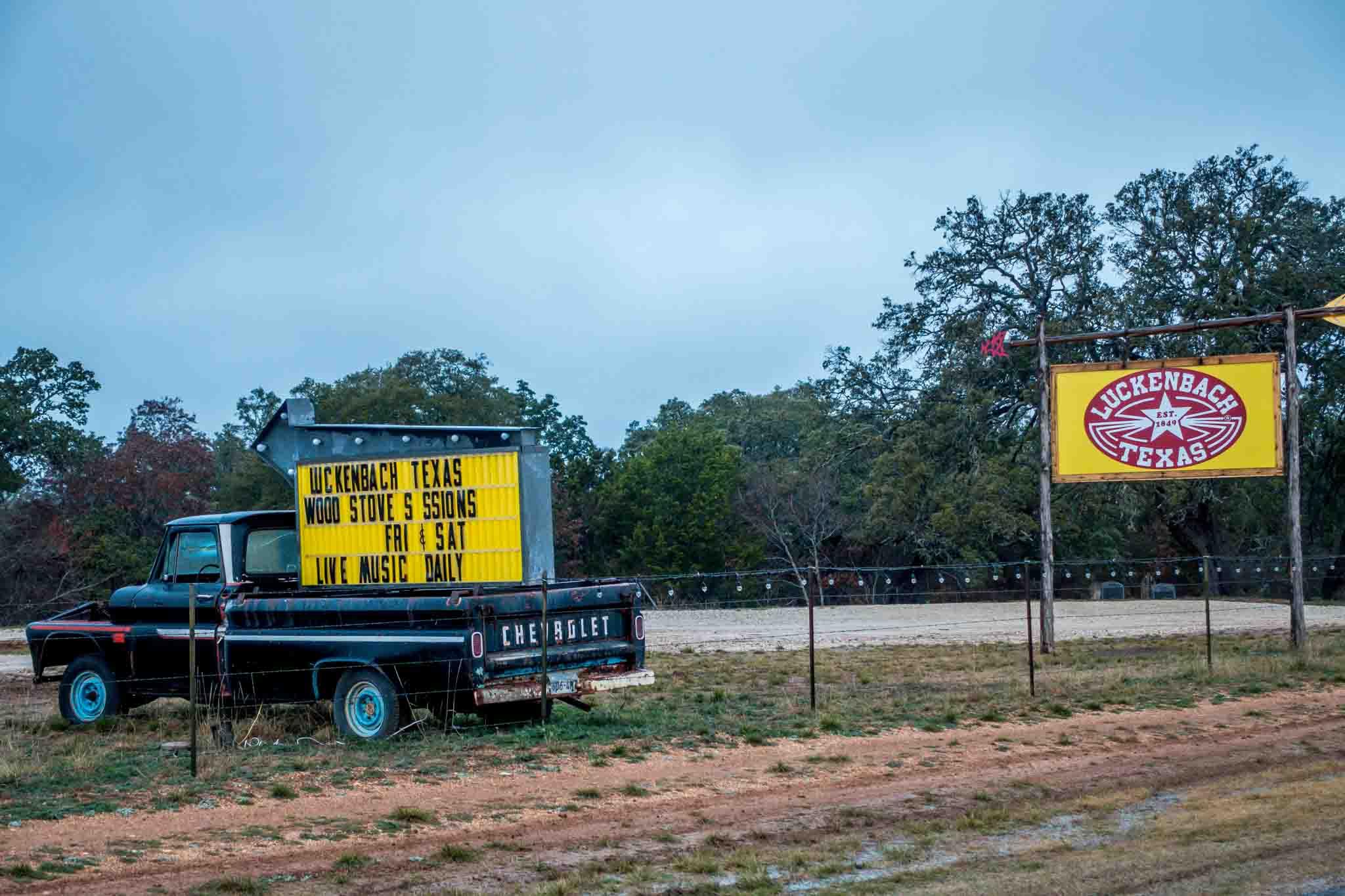 Signs for Luckenbach, Texas
