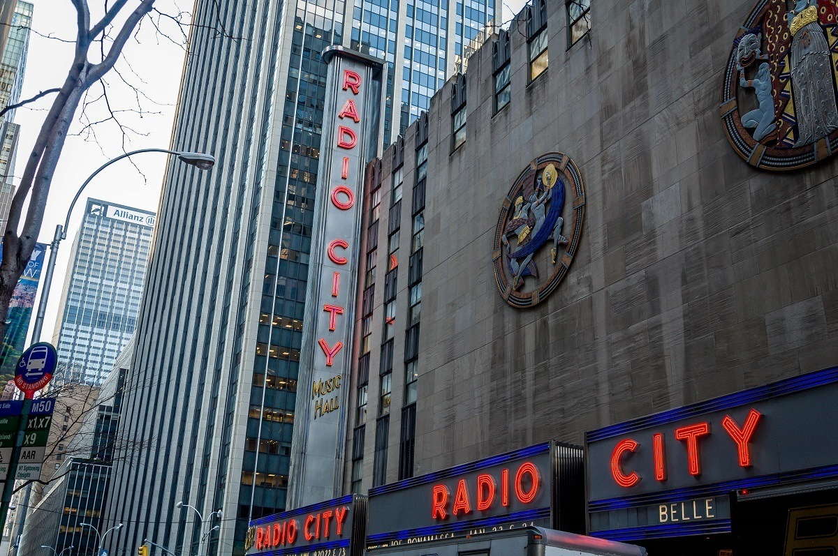 Radio City is decorated with Art Deco icon representing dance, drama, and song