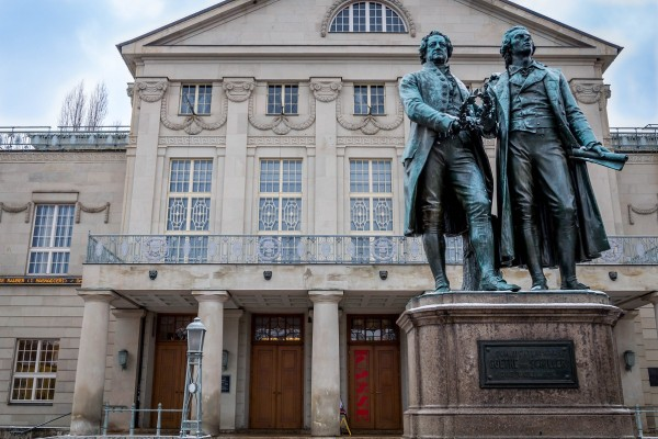 The Goethe-Schiller statue in front of Germany's National Theater celebrates the age of Classical Weimar.