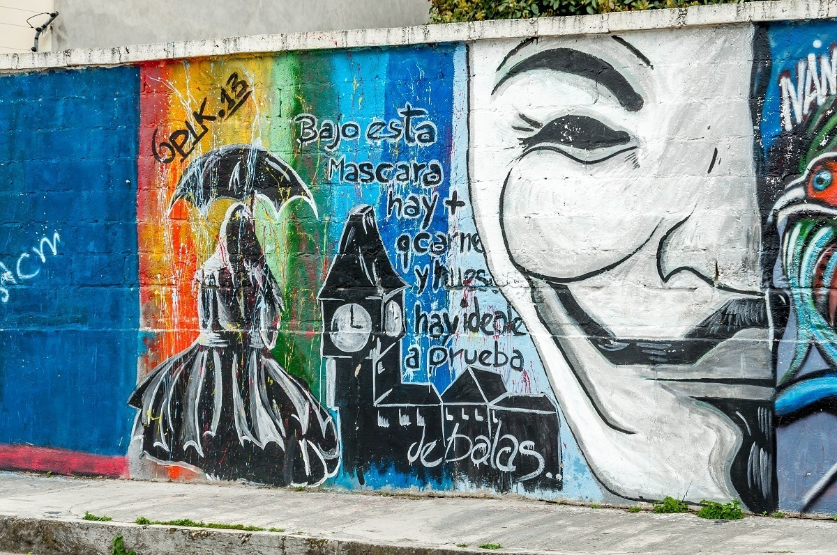 An anonymous mask as street art in Cotacachi