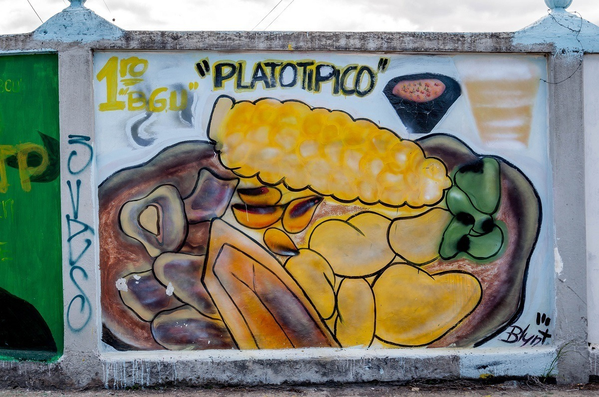Traditional foods featured in this graffiti mural in Machachi