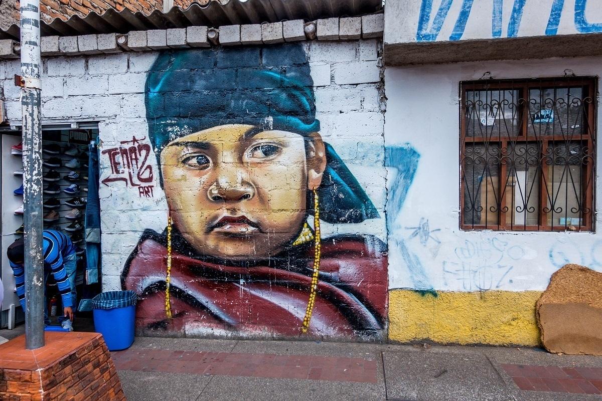 Street art in Ecuador mural of boy