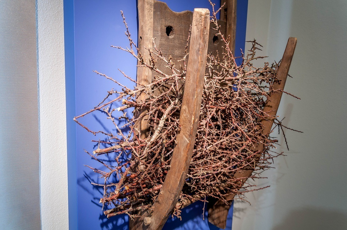 A model in the Bad Salzungen Museum of how the twigs disperse the water on the evaporation walls