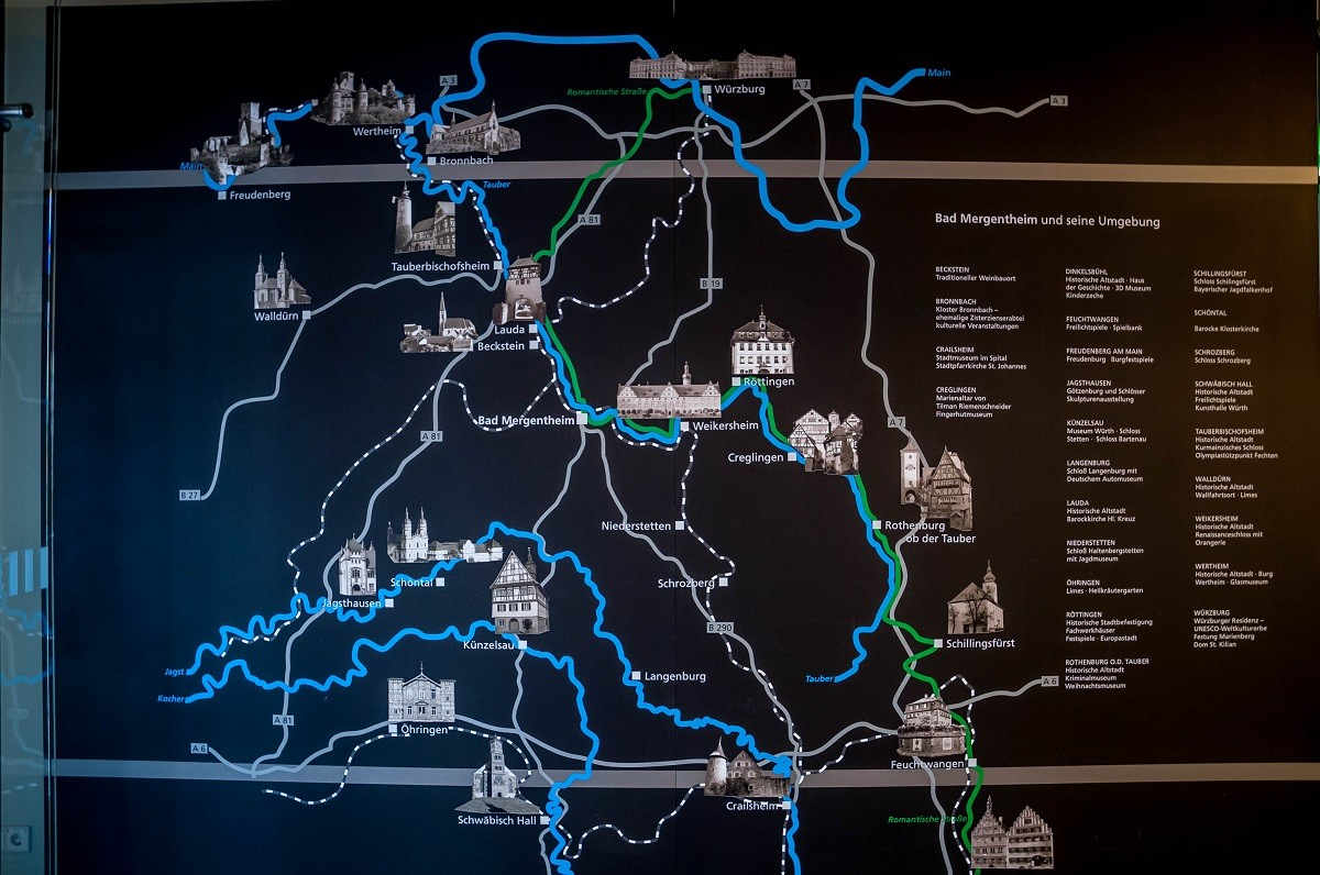 The Romantic Road Map in the Bad Mergentheim Tourist Information Office