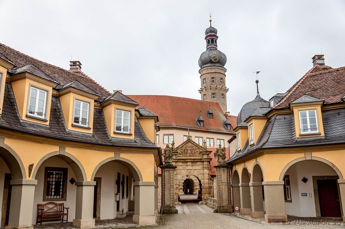 The grand entrance to the Weikersheim Castle on the Romantic Road in Germany