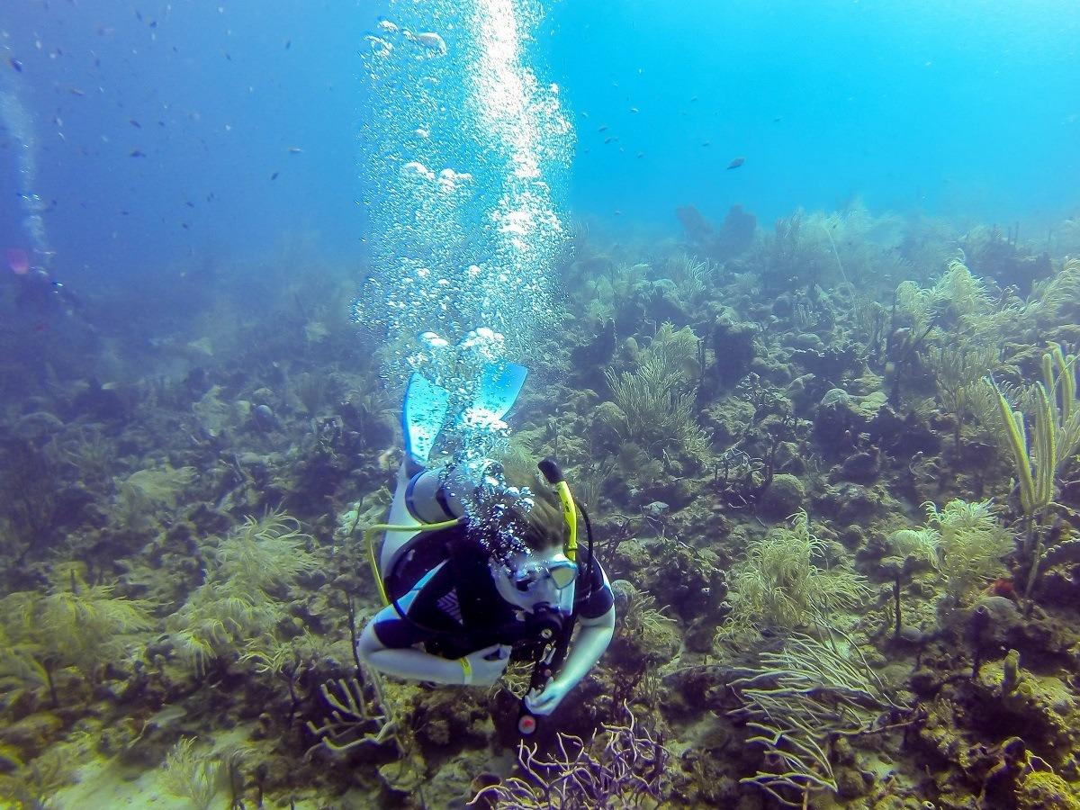 Laura scuba diving in Molinere Bay of Grenada