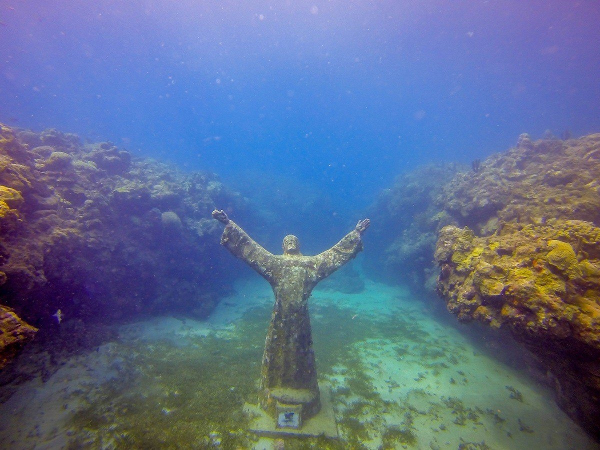 """Troy Lewis' """"Christ of the Deep"""" at the Grenada Underwater Sculpture Park in Molinere Bay"""