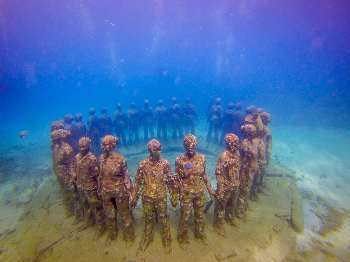 The Vicissitudes at the Grenada Underwater Sculpture Park by Jason deCaires Taylor