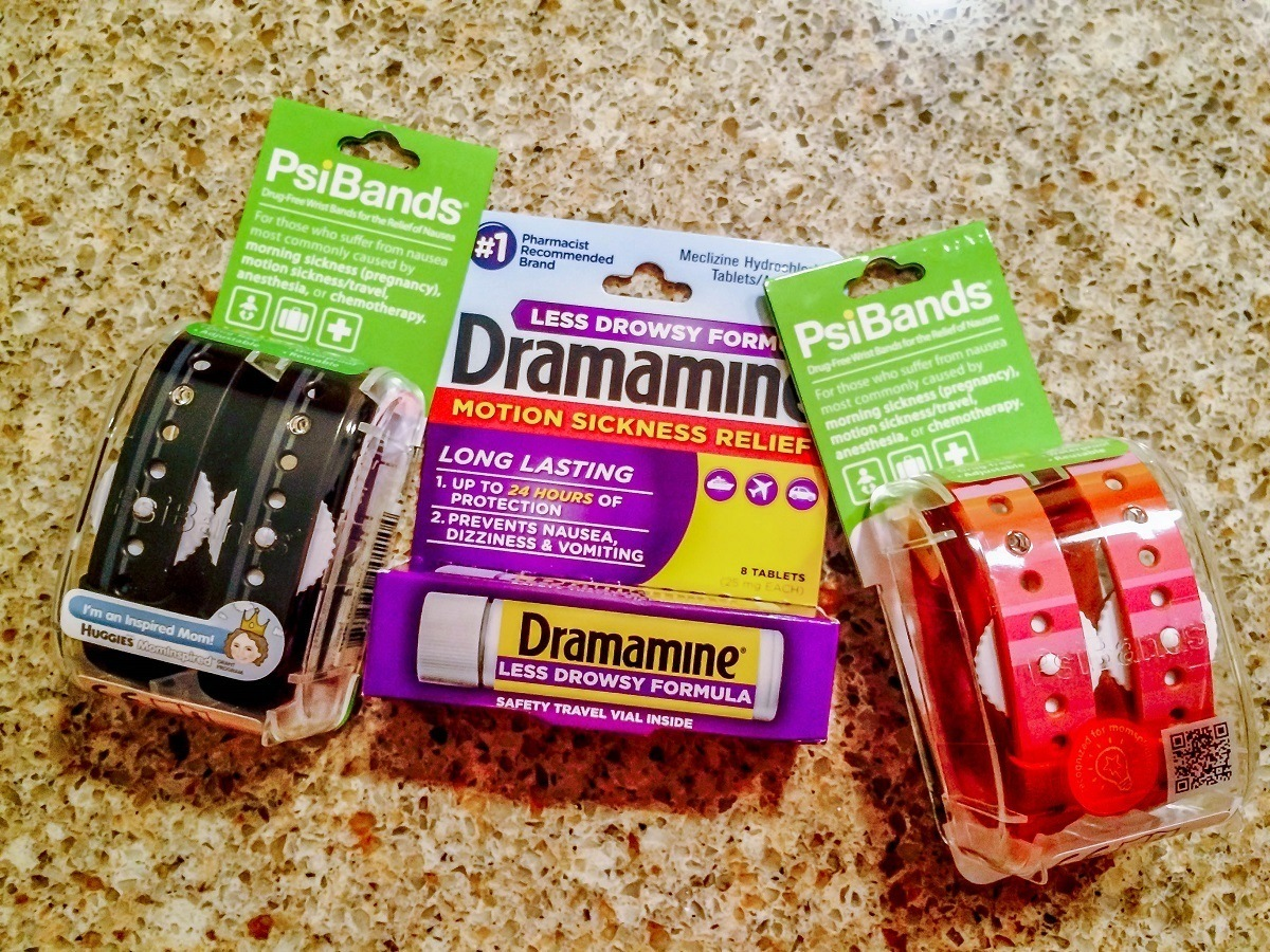 Dramamine and PsiBands for motion sickness