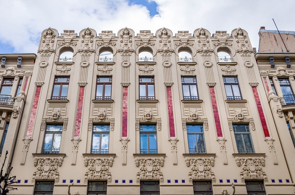 Art Deco details with faces and designs at Alberta Street 2a in Riga Latvia