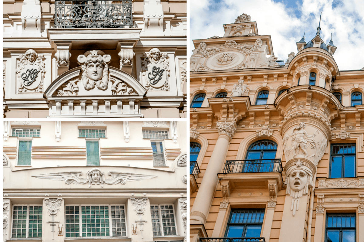 Human faces in relief on buildings in Riga Latvia