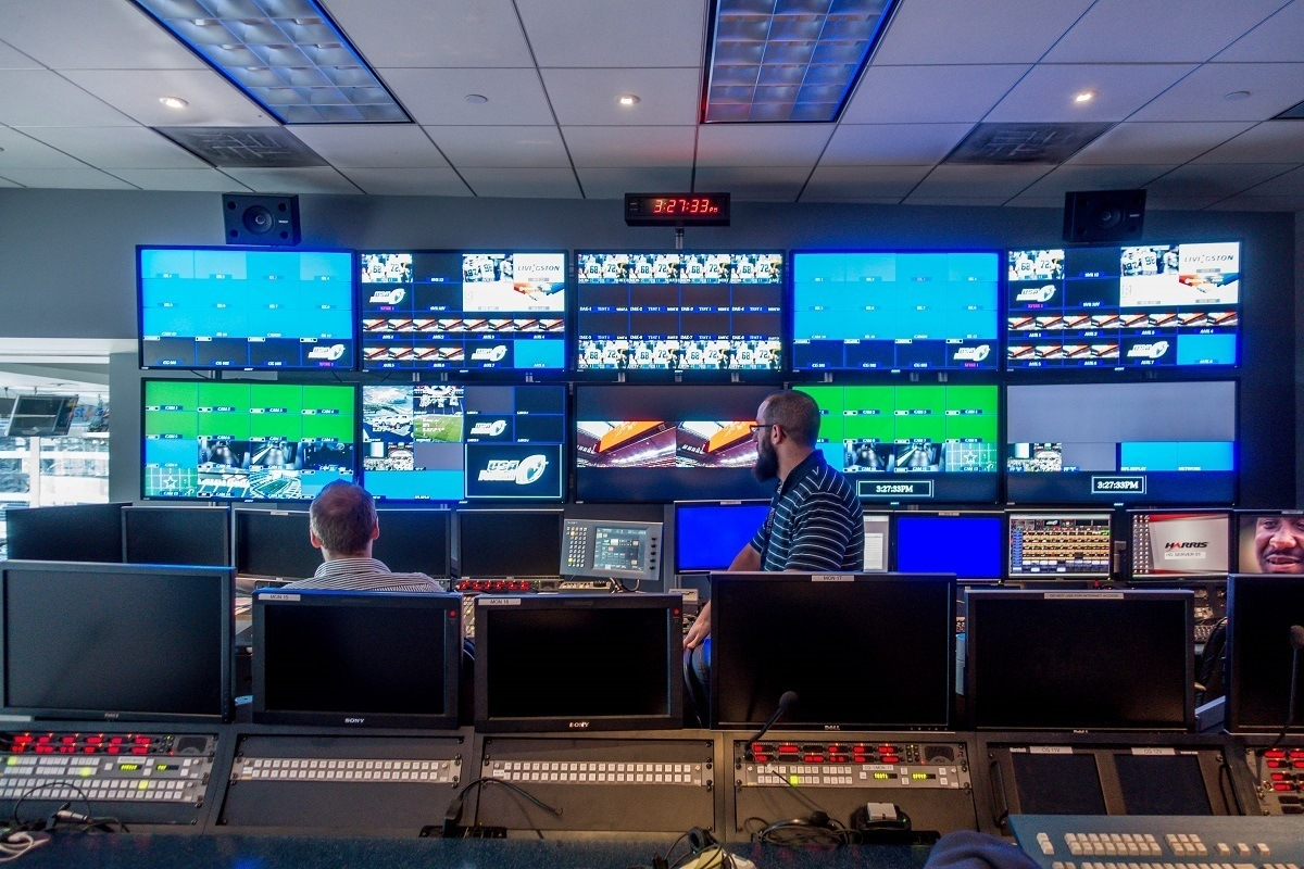 Control room with numerous video monitors