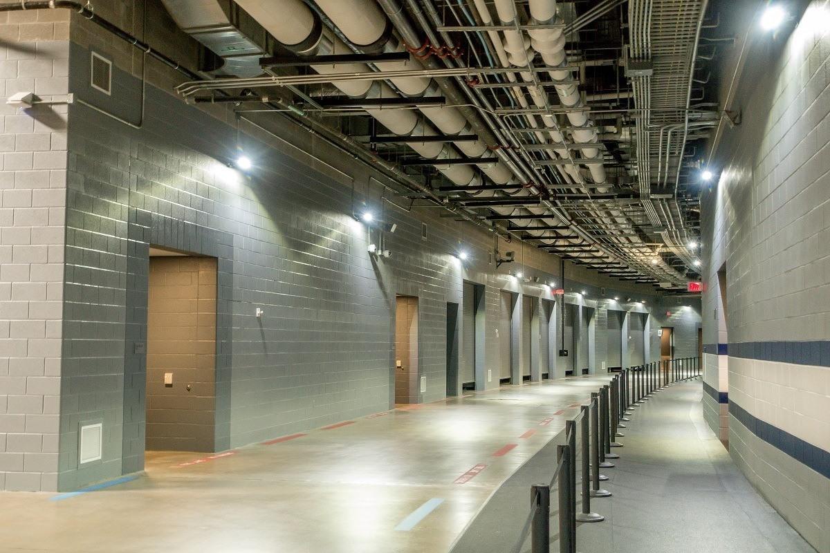 Walkway tunnel underneath the stadium