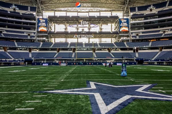 Walking on the field during a Dallas Cowboys stadium tour