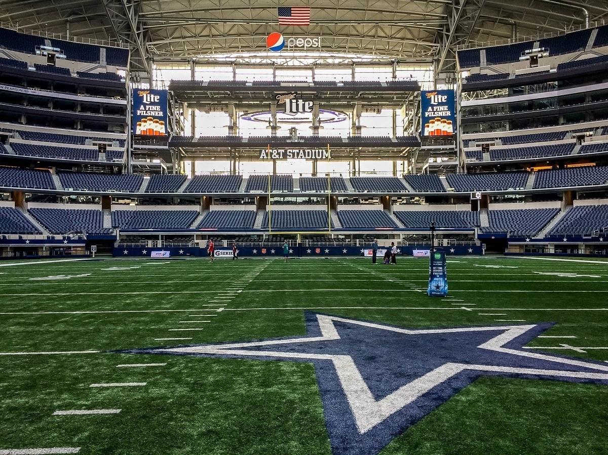 The football field during a Dallas Cowboys stadium tour in Arlington TX