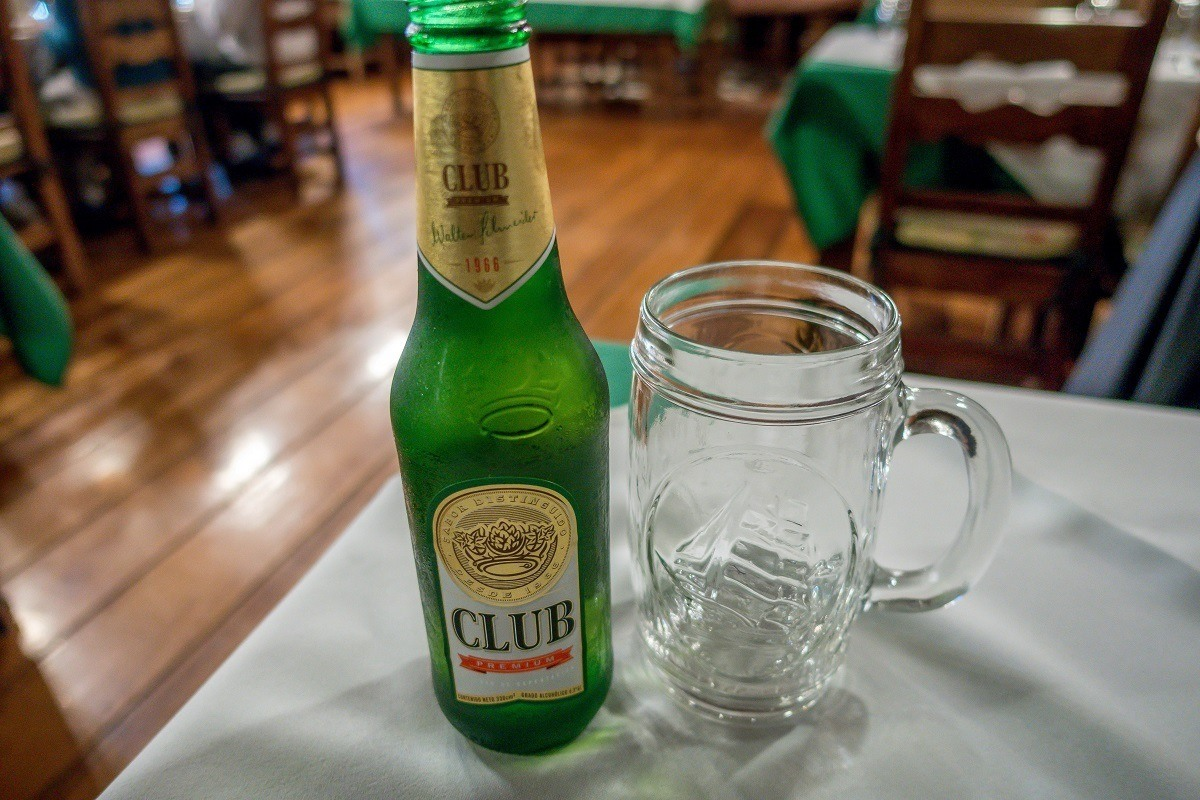 Club beer bottle and glass