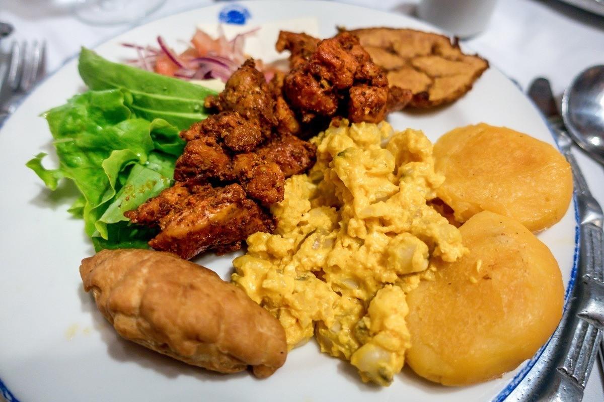 Fried pork with llapingachos