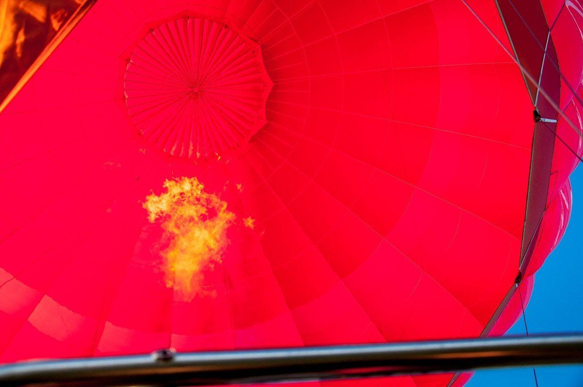 The inside of a hot air balloon lifting off