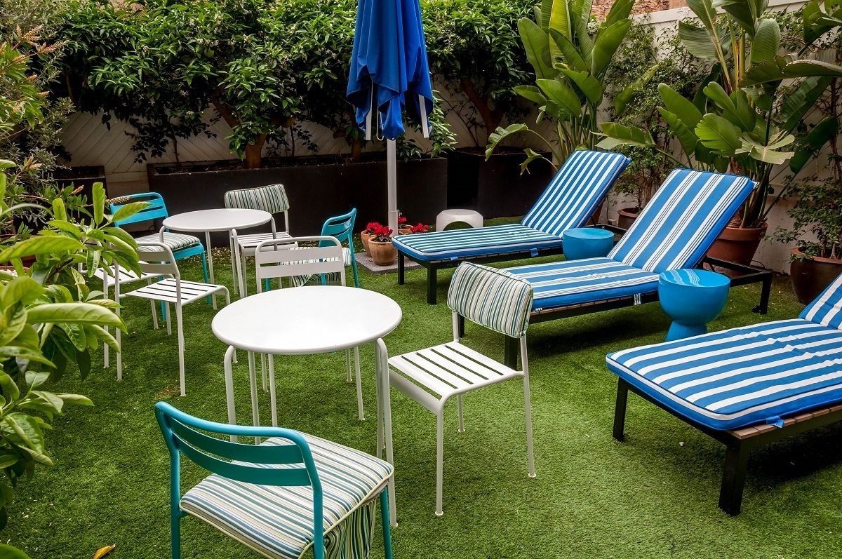 Loungers and chairs in the garden