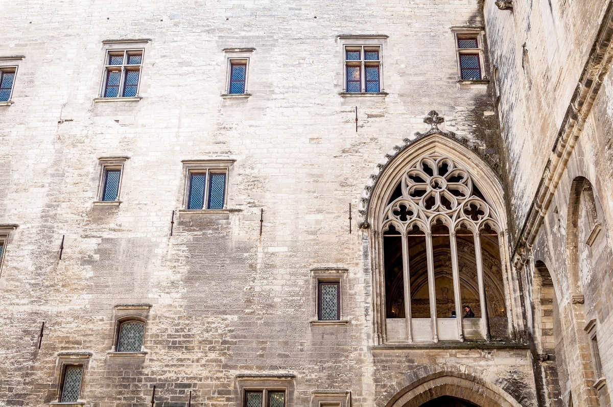 Stained glass window frame without glass at the Papal Palace
