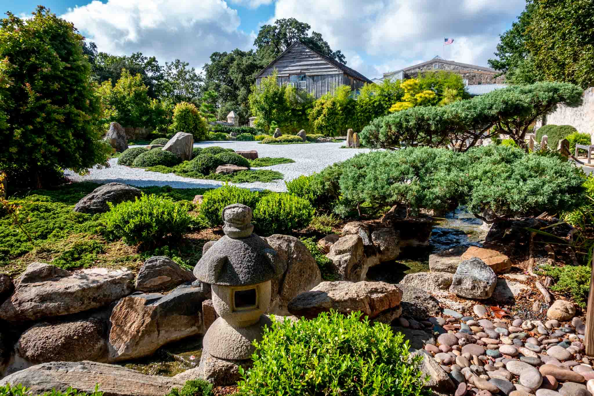 Plants and decorations in the Japanese Garden of Peace