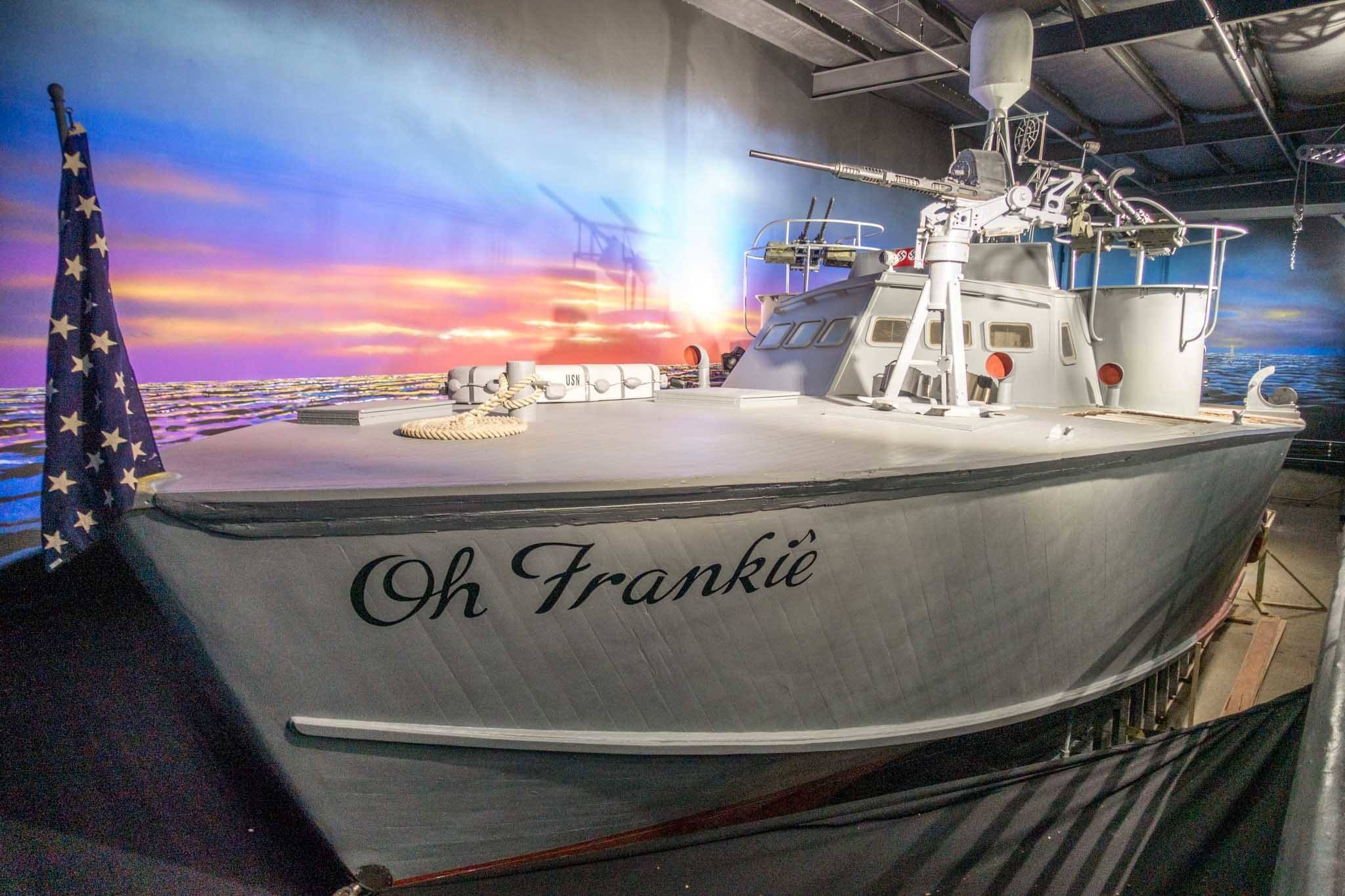 PT-309 boat named Oh Frankie on display at a museum