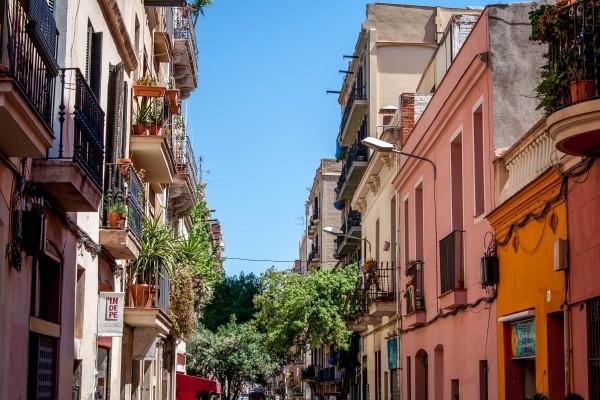 The streets of the Gracia neighborhood on the Barcelona food tour.