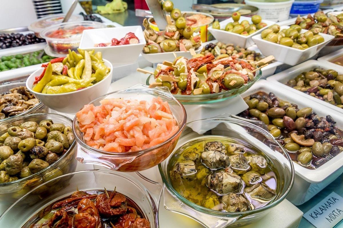 Olives for sale in a Barcelona food market