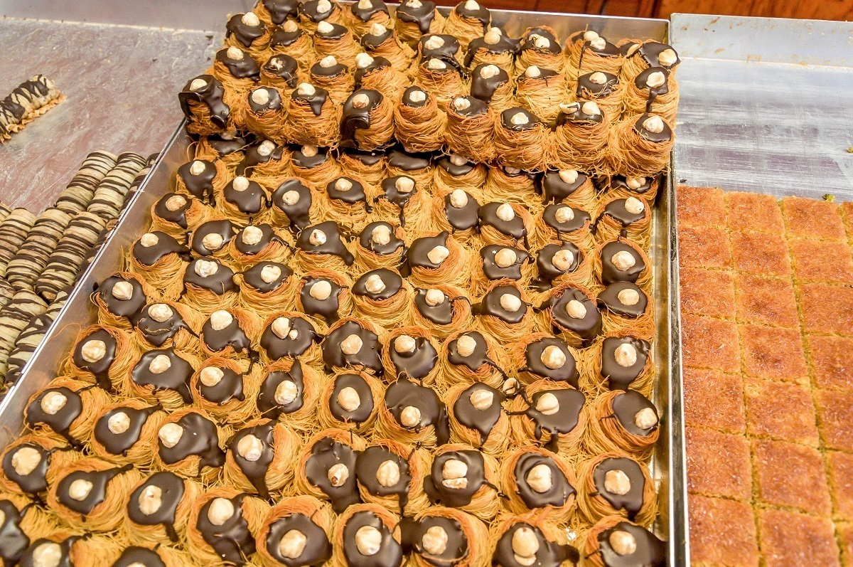 Tray of treats at the Syrian pastry shop called Pastisseria Principe