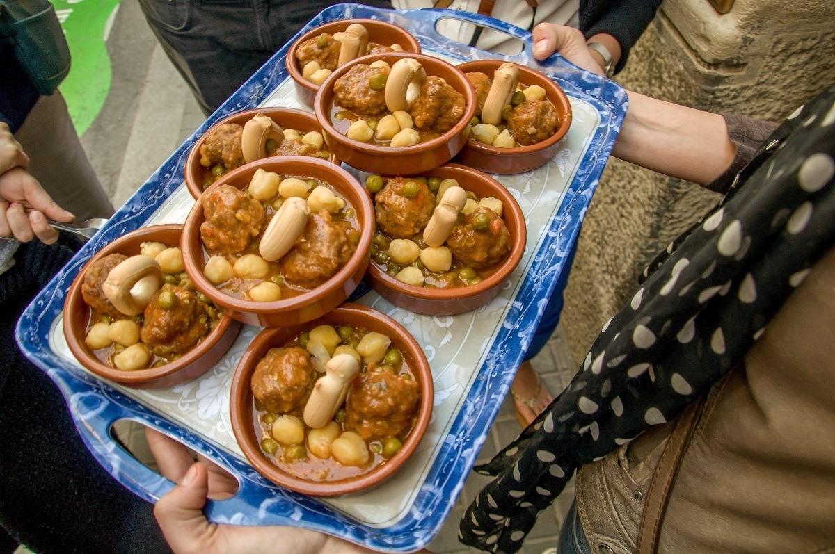 Tray of homemade meatballs (alblondigas) at La Botigueta del Bon Menjar in the Gracia neighborhood