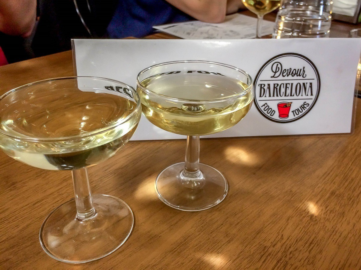Two glasses of cava on a Devour Barcelona food tour