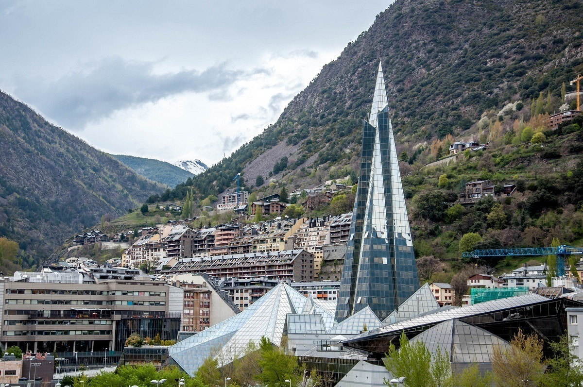 The Caldea-INUU spa complex in Andorra with the Pyrenees Mountains