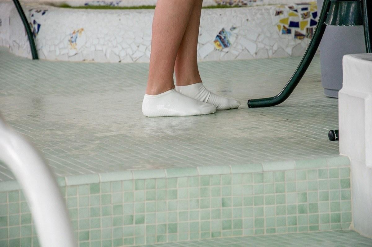 Girl wearing protective foot socks
