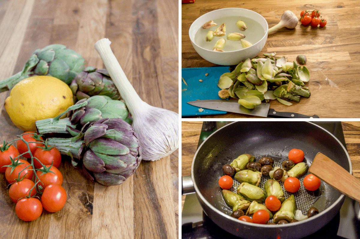 Ingredients for making artichokes Provencal
