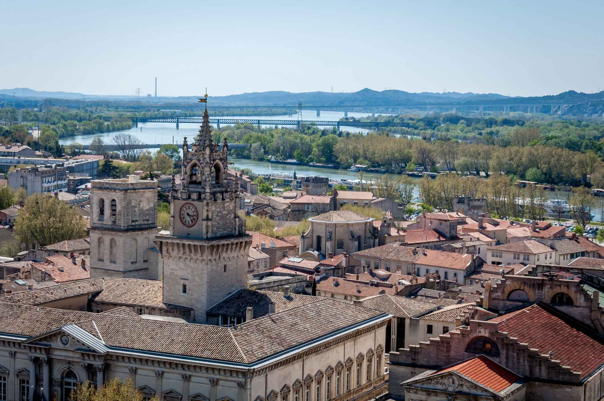 View of roofs of Avignon and river from the Palace of the Popes
