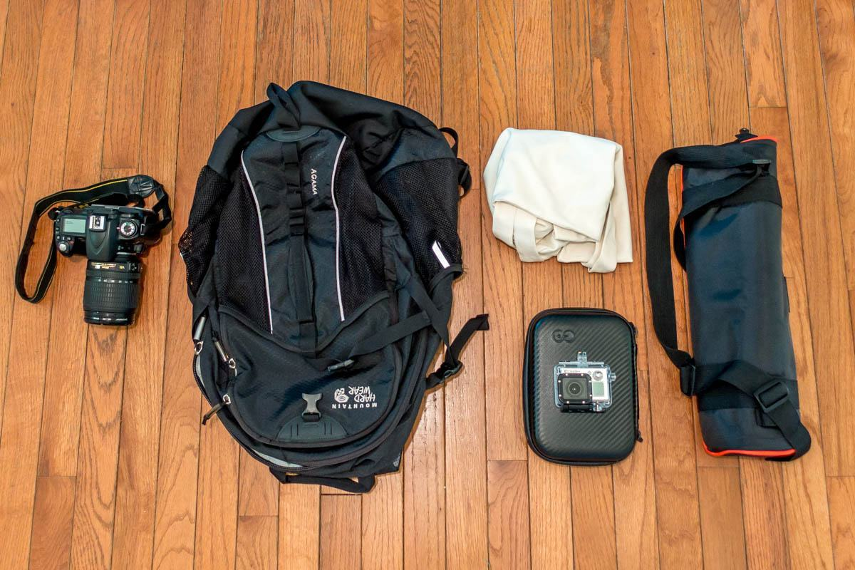 Camera, tripod, backpack, and other photography gear
