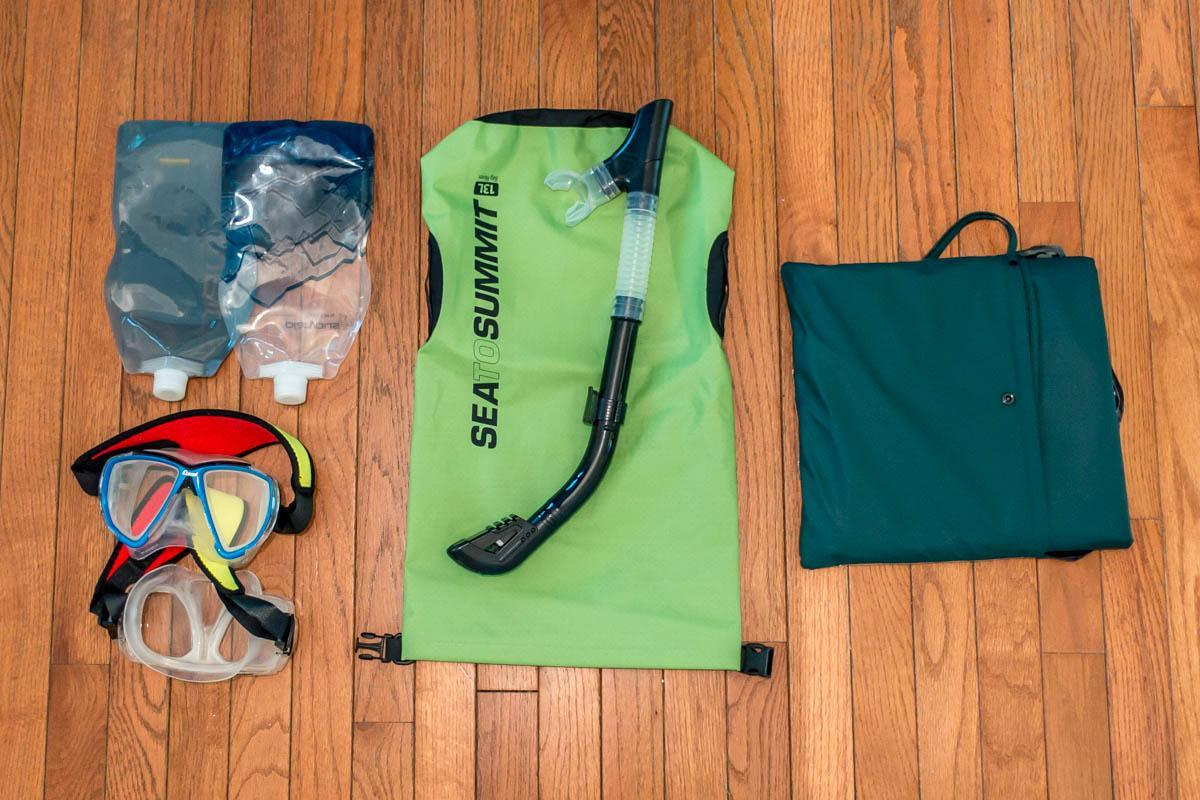 Snorkel gear and collapsible water bottles